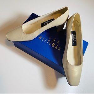 Stuart Weitzman Gold Block Heel Work Career Shoes